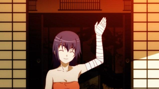 nisemonogatari-03-kanbaru-waving-good_bye-bandages-smile.jpg